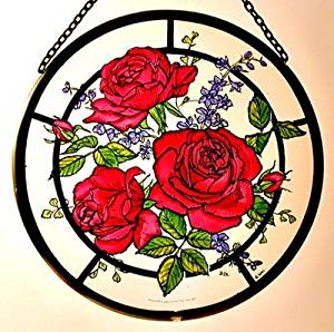 "Hand Painted Stained Glass Roundel - Red Roses (6"")"