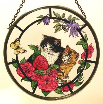 "Hand Painted Stained Glass Roundel - Kittens and Camellias (6"")"