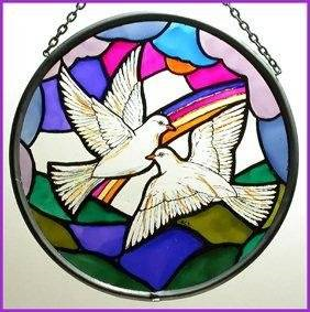 "Hand Painted Stained Glass Roundel - Doves of Peace (6"")"