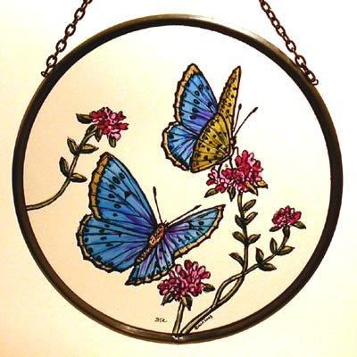 "Hand Painted Stained Glass Roundel - Blue Butterflies (6"")"