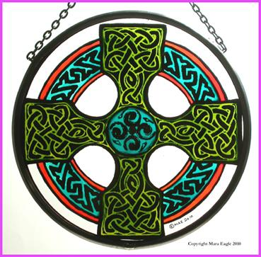 "Hand Painted Stained Glass Roundel - Celtic Cross - Green and Orange (6"")"
