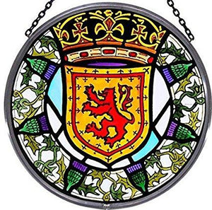 "Hand Painted Stained Glass Roundel - Scottish Lion and Thistles (6"")"