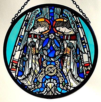 "Hand Painted Stained Glass Roundel - Glasgow Cathedral - Praising Angels (6"")"