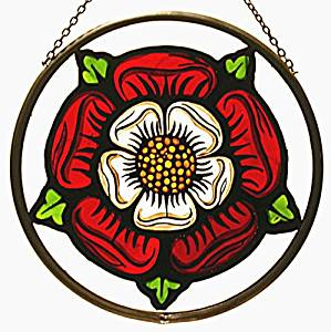 "Hand Painted Stained Glass Roundel - Elizabethan Tudor Rose (6"")"
