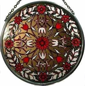 "Hand Painted Stained Glass Roundel - William Morris Garland - Red (6"")"