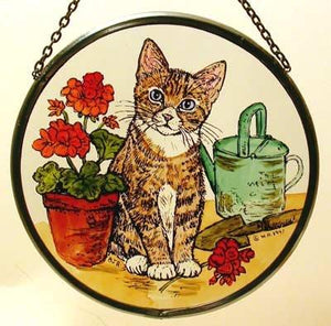 "Hand Painted Stained Glass Roundel - Kitten and Geranium (6"")"