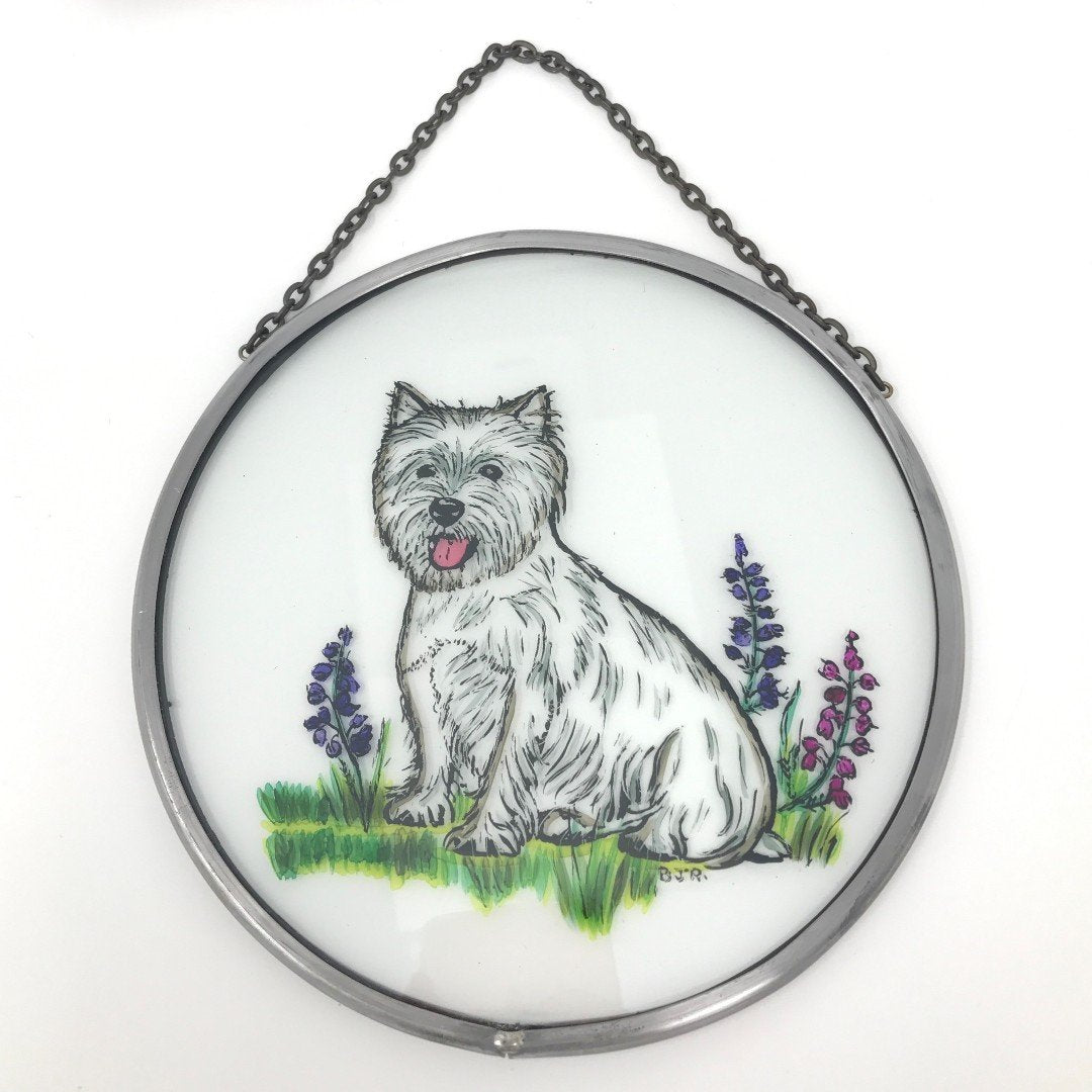 "Hand Painted Stained Glass Roundel - West Highland Terrier (6"")"