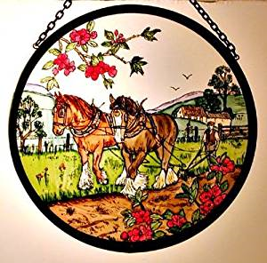 "Hand Painted Stained Glass Roundel - Autumn Ploughing (6"")"