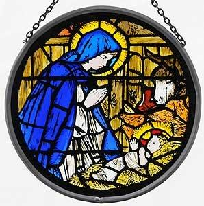 "Hand Painted Stained Glass Roundel - Canterbury Cathedral- Madonna and child (6"")"
