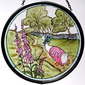 "Hand Painted Stained Glass Roundel - Beatrix Potter Jemima Puddleduck (5"")"