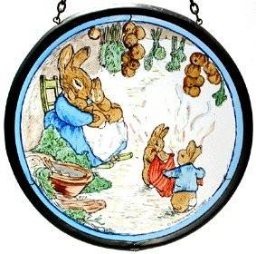 "Hand Painted Stained Glass Roundel - Beatrix Potter Mrs Rabbit with Flopsy Bunnies and Peter in their Burrow(5"")"