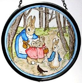 "Hand Painted Stained Glass Roundel - Beatrix Potter Mrs Rabbit with Flopsy Bunnies and Peter in the woods (5"")"