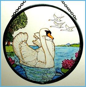 "Hand Painted Stained Glass Roundel - Mute Swans (6"")"