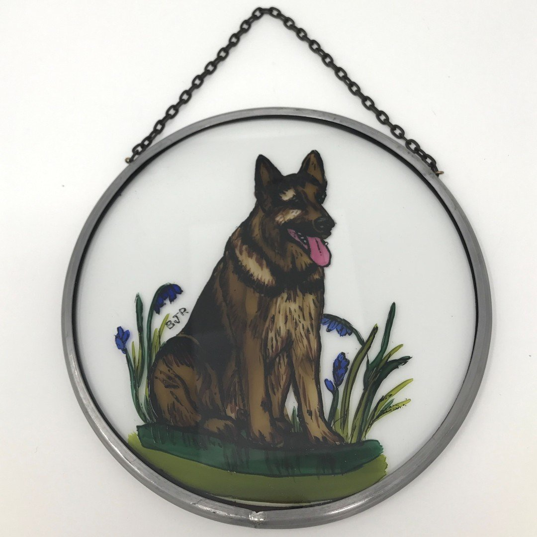 "Hand Painted Stained Glass Roundel - Alsatian (6"")"