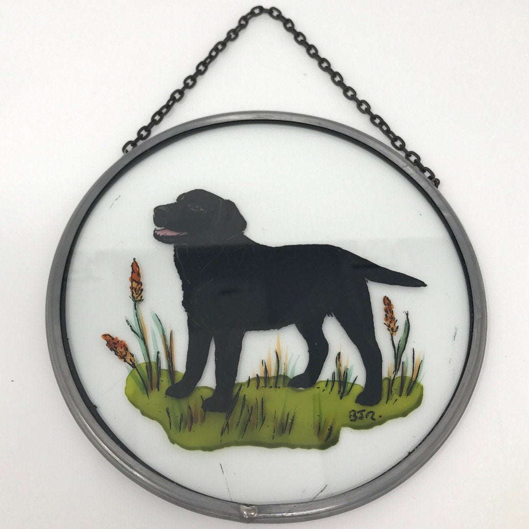 "Hand Painted Stained Glass Roundel - Black Labrador (6"")"