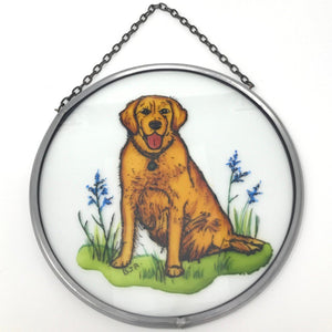 "Hand Painted Stained Glass Roundel - Golden Retriever (6"")"