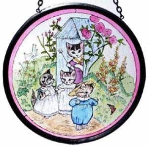 "Hand Painted Stained Glass Roundel - Beatrix Potter Tom Kitten (5"")"