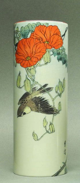 Ceramic Art Vase Medium - Gesso Yoshimoto - Sparrow with Red Flowers VAM03GES