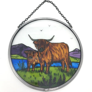 "Hand Painted Stained Glass Roundel - Highland Cattle (6"")"