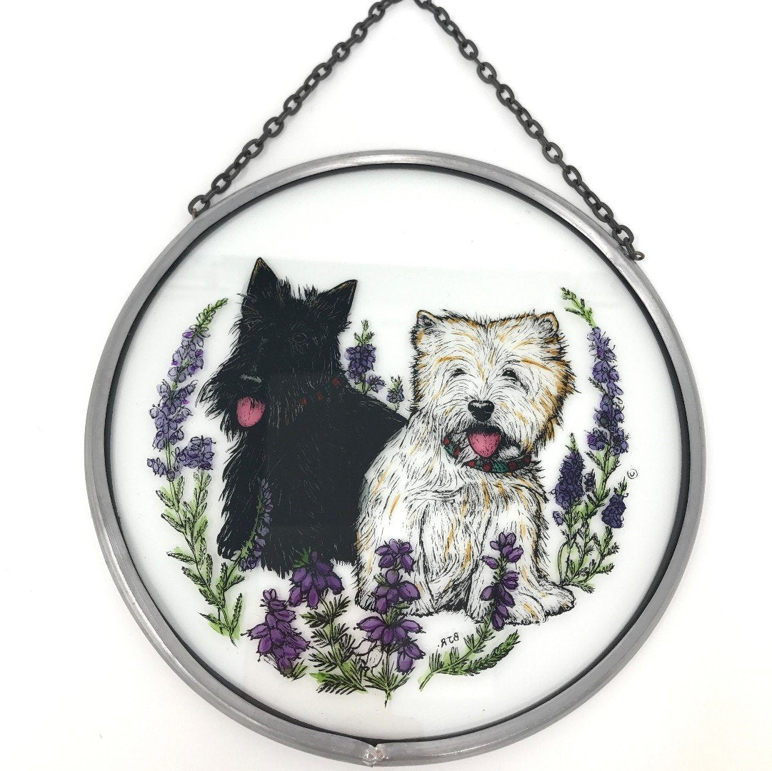 "Hand Painted Stained Glass Roundel - Scottie and Westie (6"")"