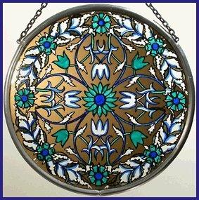 "Hand Painted Stained Glass Roundel - William Morris Garland - Blue (6"")"