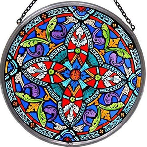 "Hand Painted Stained Glass Roundel - Ornate Quatrefoil (6"")"