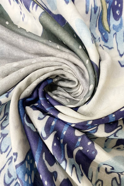 Hokusai's Great Wave Frayed Scarf