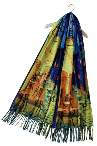 Van Gogh Terrace at Night Wool Blend Scarf