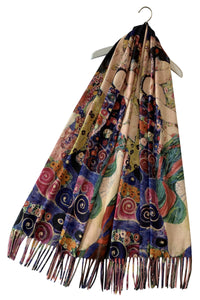 Klimt Three Ages Of Women Wool Scarf with Tassel Edge