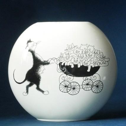 Dubout Cats Vase - The Pram DUB102