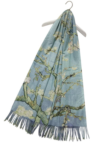 Van Gogh Almond Blossom Wool Scarf with Tassel Edge