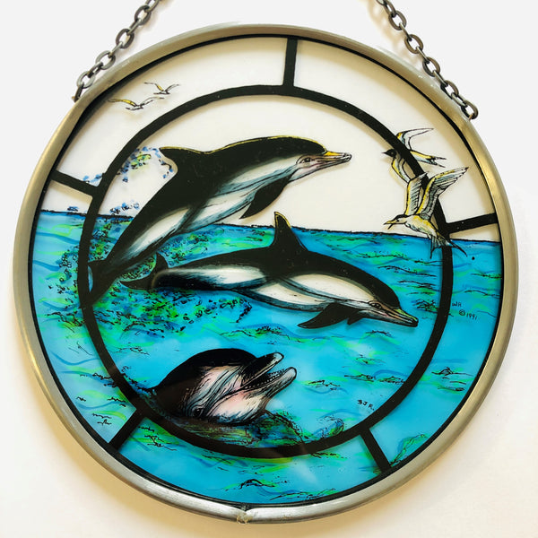 "Hand Painted Stained Glass Roundel - Cheerful Dolphins (6"")"