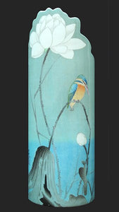 Silhouette d'art Vase - Koson, Kingfisher with Lotus Flower Bird SDA41