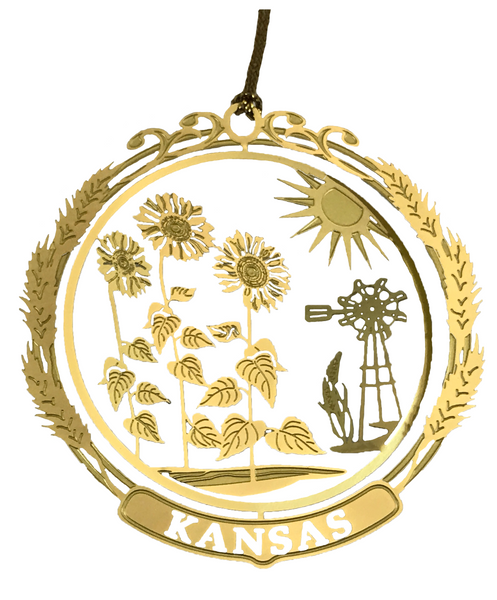 Kansas Brass Ornament