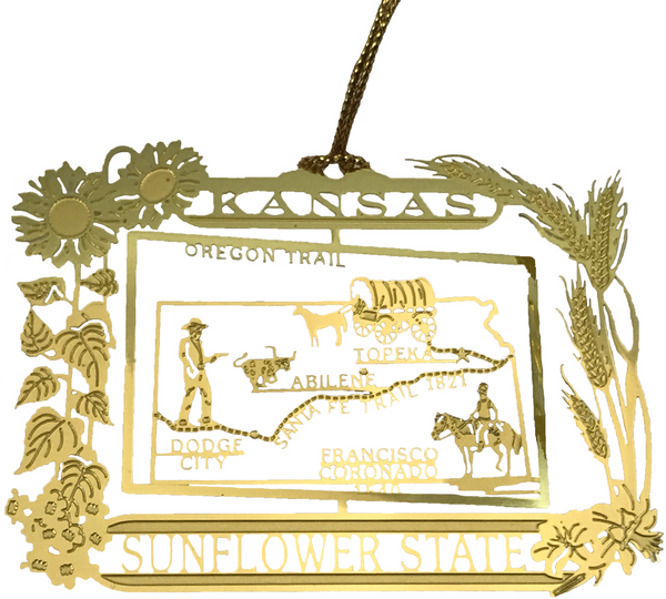 Kansas Landmark Brass Ornament