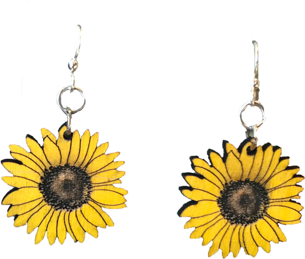 Sunflower Wood Dangle Earrings