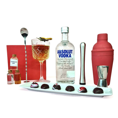 Kit de mixología con vodka y chocolates para parejas