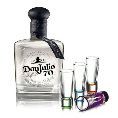TEQUILA DON JULIO 70 CON 4 CABALLITOS DE COLOR