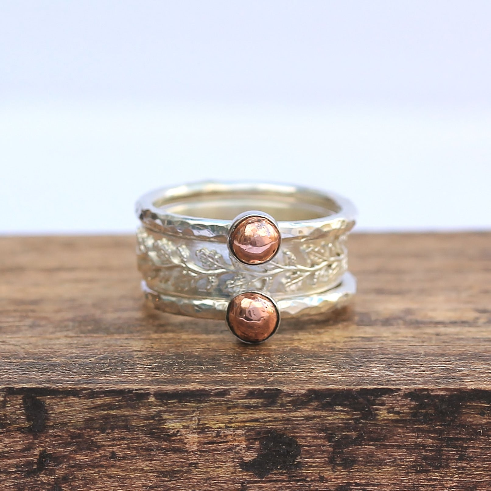 Woodland Copper Nugget Stacking Ring Set