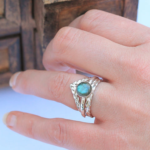 Labradorite Wheat Wish Stacking Ring Set