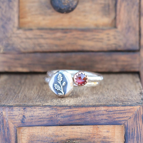 Winter Oak Copper Garnet Stacking Ring Set