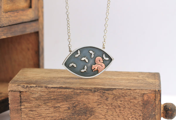 Foraging Red Squirrel Necklace