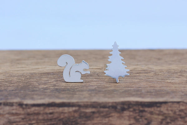 Squirrel and Tree Earrings
