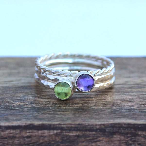 Amethyst Peridot Twist Stacking Ring Set