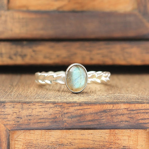 Labradorite Wheat Ring