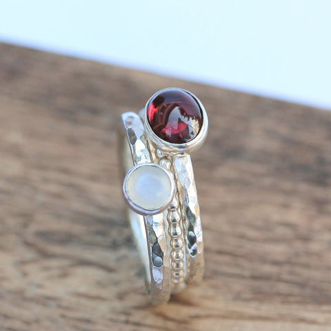 Garnet Moonstone Beaded Stacking Ring Set