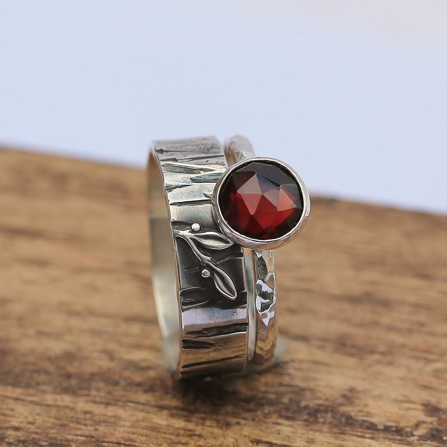 Garnet Blackthorn Stacking Ring Set