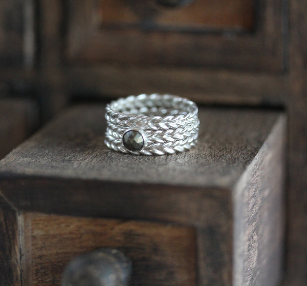 Pyrite Wheat Ring