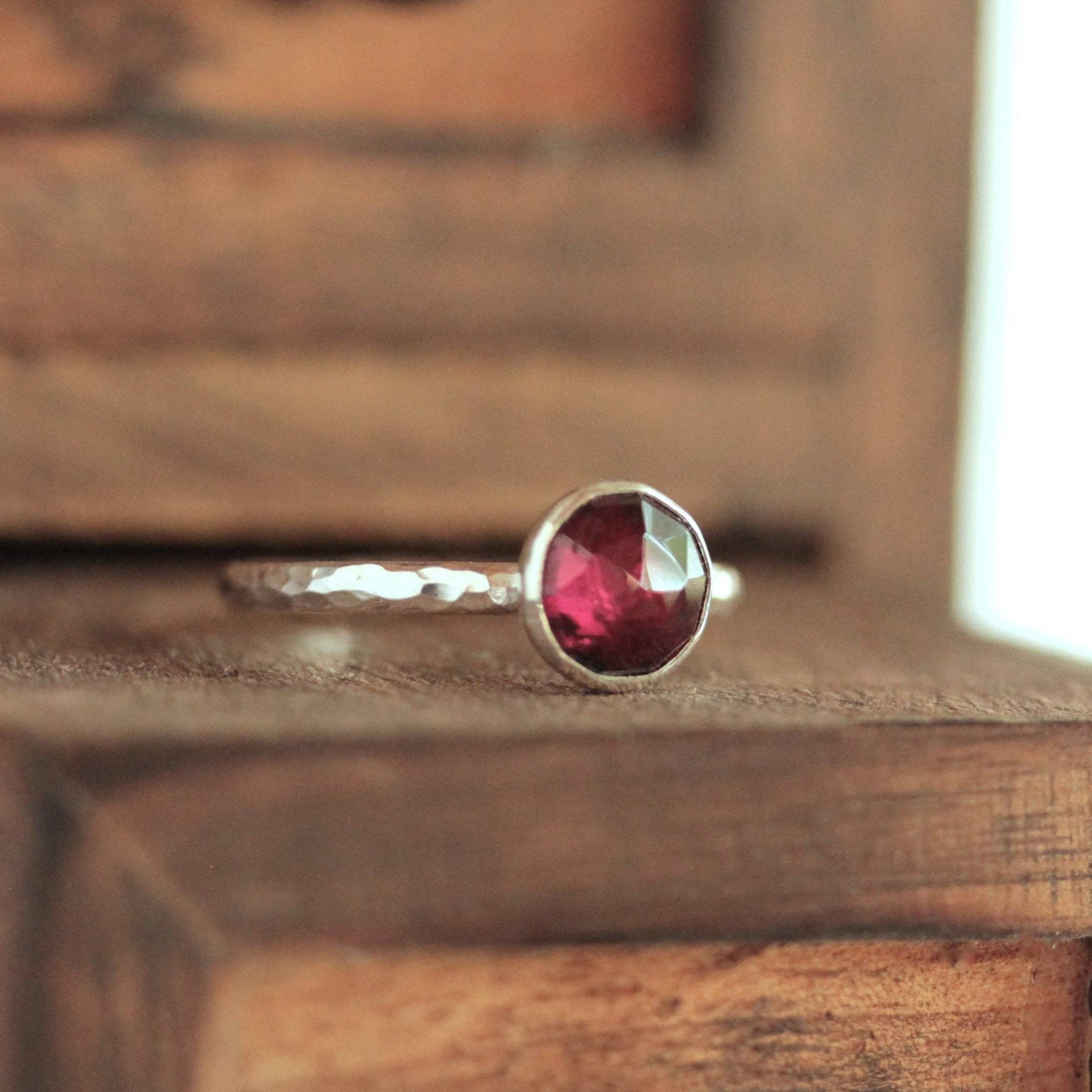 Garnet 8mm Stacking Ring
