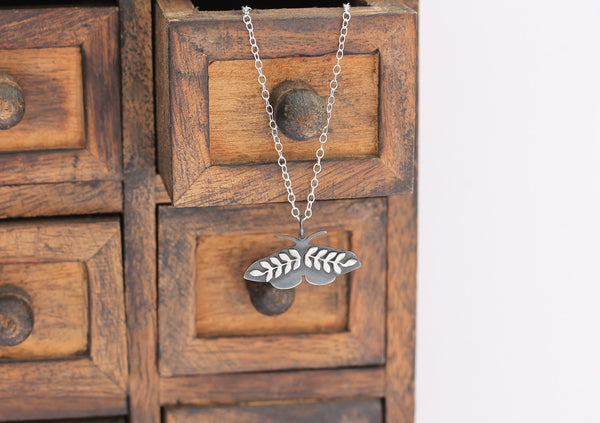 Midnight Flying Moth Necklace